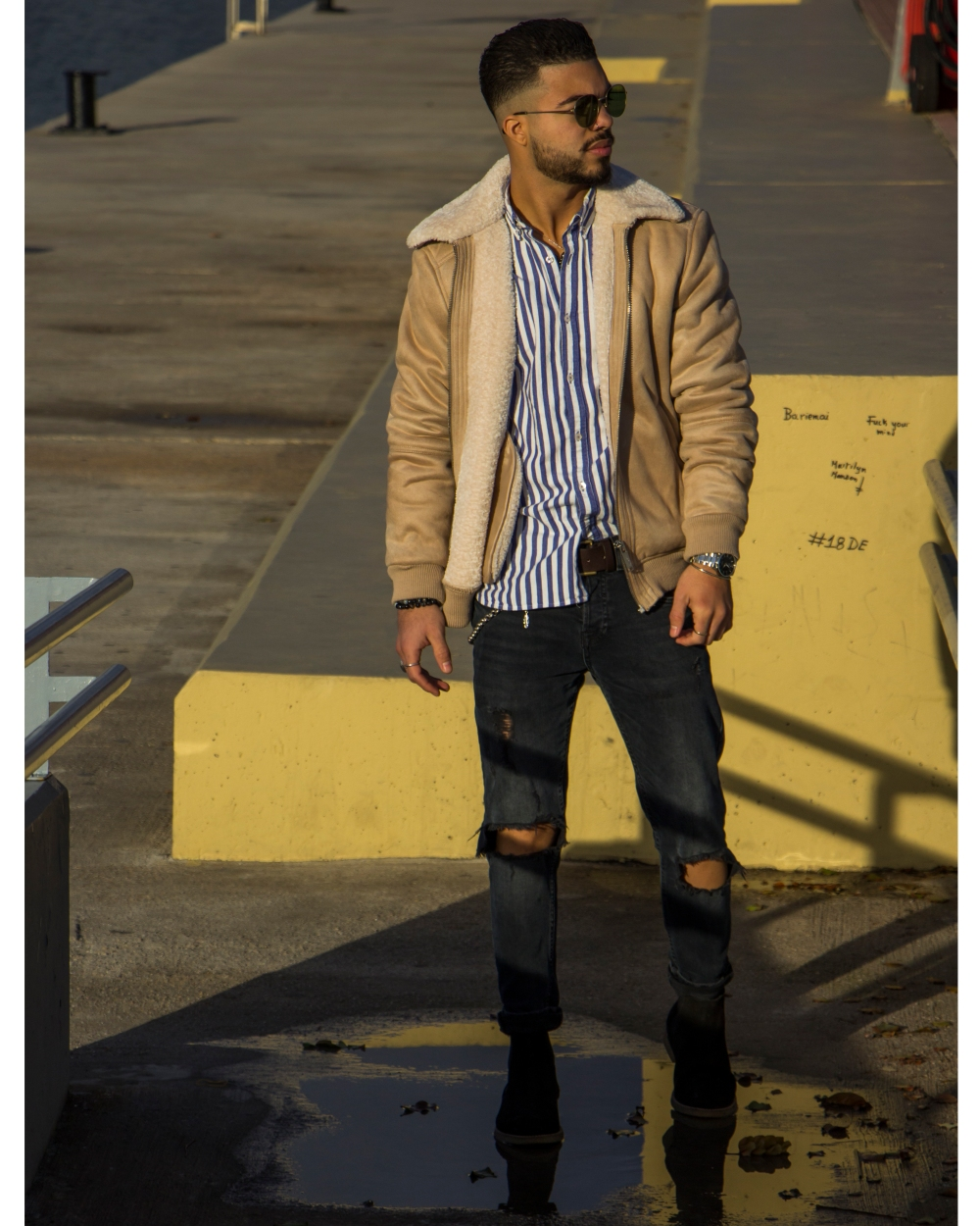 LewysMaceo_StealHisStyle_JustNatonya_striped shirt and jacket