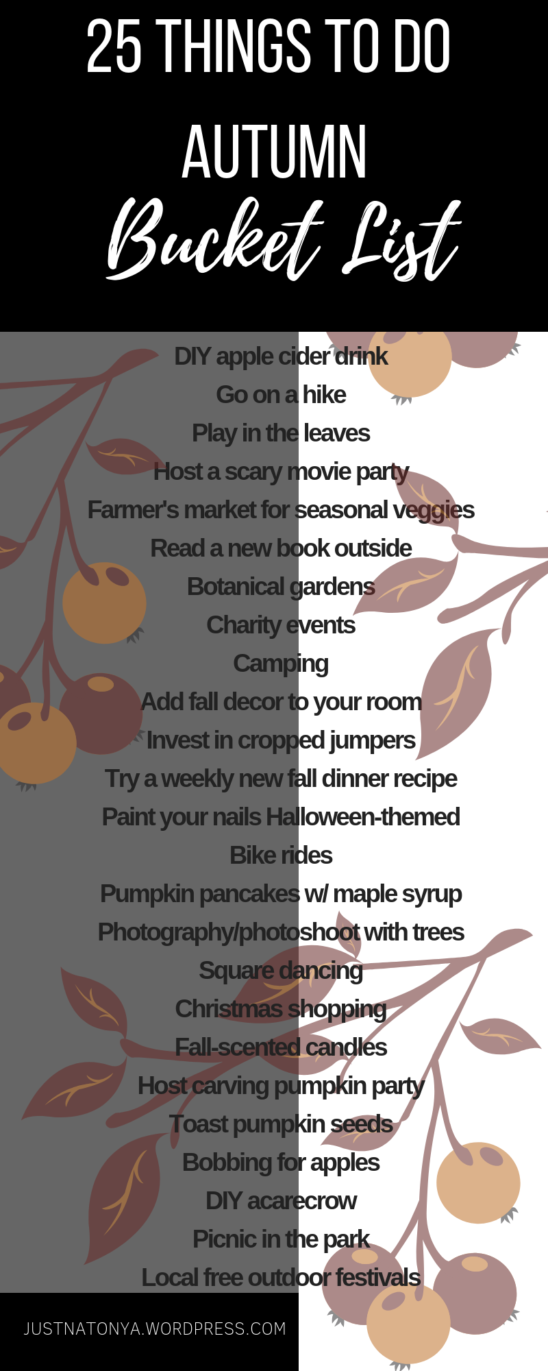 JustNatonya 25 Things to Do in Autumn